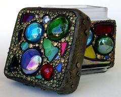 Mosaic Lidded Glass Jar 4 (MandarinMoon) Tags: texture glass rainbow mosaic stainedglass container polymerclay suncatcher jar iridescent gems artglass functionalart