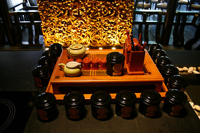 Tea set display at Cherry Garden