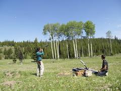 Got it! (Jean&Vic) Tags: blue orange white green pigeon rifle pistol boxes shatter shotguns thrower