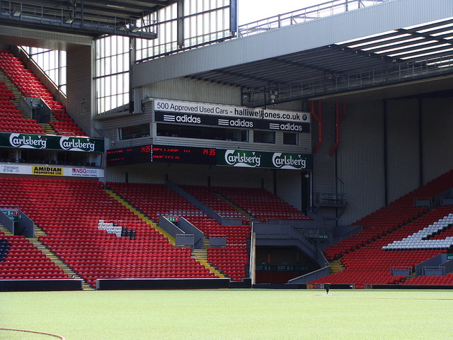 Corner and TV studio at Anfield