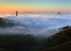 Summer Solstice (Rob Kroenert) Tags: sanfrancisco california morning bridge summer usa tower fog skyline sunrise dawn golden bay kirby gate san francisco downtown pyramid cove marin solstice goldengatebridge headlands transamerica coit