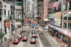 Taxi Taxi (BarneyF) Tags: street people urban building square landscape bay time taxi hong kong hdr causeway photomatix 3exp 3exposure