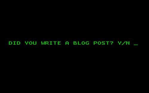 did you write a blog post y n