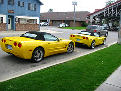 Seeing Double:  My mom and I couldn't believe that there was another yellow Corvette around.  The one in front is my mom's.
