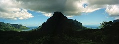 Mt. Rotui, flanked by Opunohu & Cooks Bays (Glenn Gilbert) Tags: ocean travel panorama mountain nature clouds landscape island volcano polynesia coast paradise belvedere tahiti bays stitched canoscan merge moorea gmt frenchpolynesia societyislands canonphotura