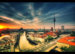 Good Night Berlin (Marcus Klepper - Berliner1017) Tags: auto city sunset berlin clouds sunrise canon germany deutschland hotel heaven sonnenuntergang centre himmel wolken 7d alexanderplatz fernsehturm rotesrathaus nikolaiviertel brcke spree zentrum mitte 1022mm schlossplatz hdr verkaufen nikolaikirche parkinn berlinerdom glut mnze lustgarten photomatix