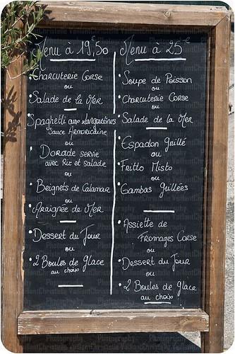 Corsican restaurant menu board