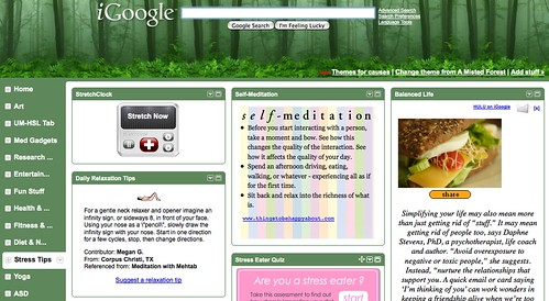 iGoogle for MHealthy: Stress Tips & Tools Tab