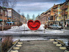 The Heart of Ume (eikei) Tags: street winter sky snow art car heart sweden ume sverige umea capitalofculture vsterbotten vasterbotten