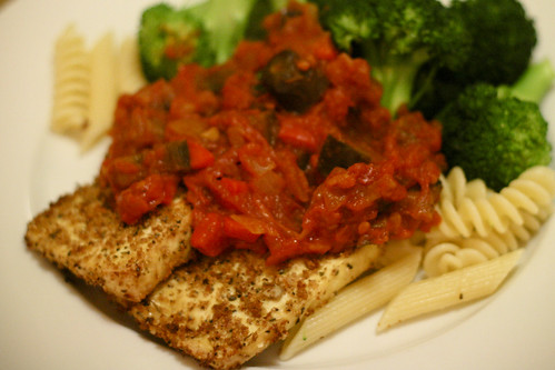 Tofu Steaks with Eggplant Arrabiatta Sauce, Pasta and Broccoli