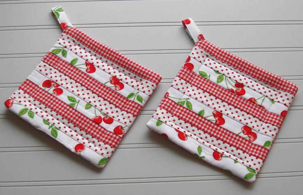 POT HOLDERS~Cherries~Polka Dots~Checks