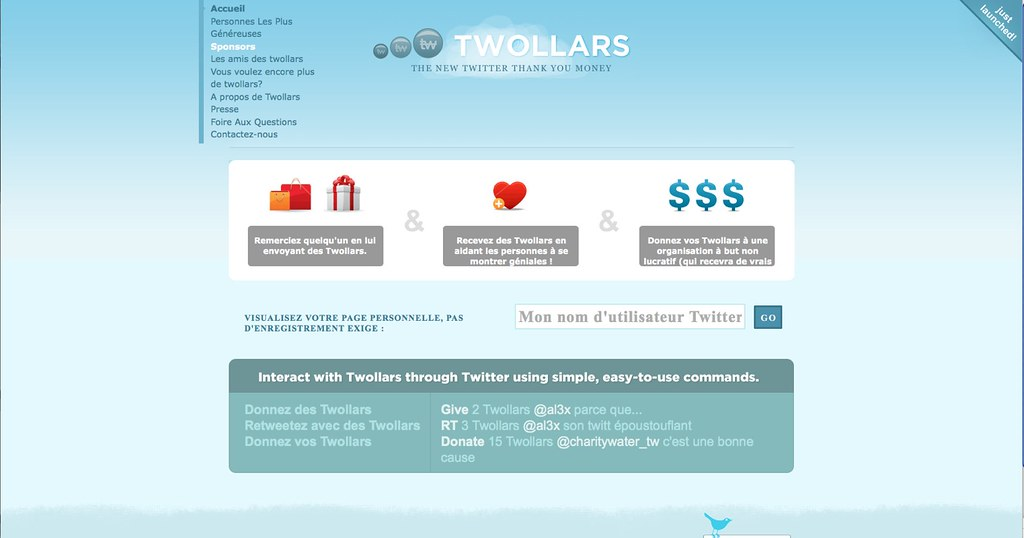 Twollars : pre-release page d'accueil