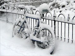 No Biking Today! (Kurlylox1) Tags: blackandwhite snow geometric monochrome bike bicycle fence snowy wroughtiron locked soe grounded chained snowedin nobiking linesandcircles mywinners