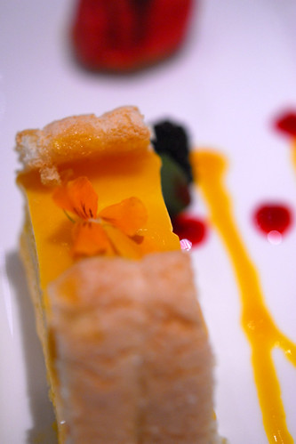 Mango charlotte with exotic coulis and raspberry sorbet - DSC_8440