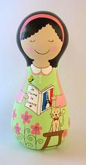 Nina (Belle Bellica) Tags: wood pink flowers france flores cat butterfly painting doll rosa frana craft gato borboleta handpainted boneca pintura