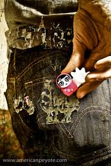 Yes, I also Poken (American Peyote) Tags: pink cute fashion photoshop hand grunge flash fingers jeans pocket levis facebook socialnetworking 383 strobist alzo poken doyoupoken