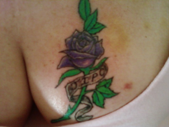 Purple Rose Tattoo. Done at Revolations Studios in Derry NH on March 11,