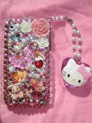 ★New Hello Kitty Strap I made n my Iphone cover★ (Pinky Anela) Tags: hk rose japanese hellokitty pinky bow strap gems iphone gyaru