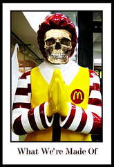 The true face of Ronald (Mad Mike 3000) Tags: life green art against sign collage photoshop media kill industrial cs2 you propaganda lies nwo watch obey urbanart burn romania masons hate junkfood brainwash information bucharest 2009 ilustration bucuresti mcdonald illuminati fightclub ecologic antimcdonald minciuni