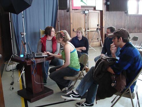 gathering around to edit video