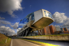 Out of Space (Esther Seijmonsbergen) Tags: holland reflection building amsterdam architecture modern office alien thenetherlands bank spaceship theshoe hdr schoen zuidas transparant headoffice innovative kruimeldief inghouse klapschaats 5xp estherseijmonsbergen wwwdigitalexposurephotographycom