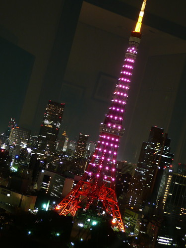Tokyo Tower at night. This was St Valentines day when it was in Purple.
