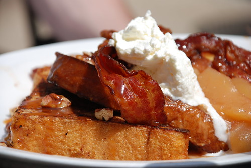 Michael's glorious bacon/caramel/pecan french toast at Mad Donna's