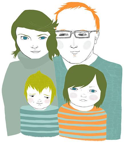 Custom portrait… family of four