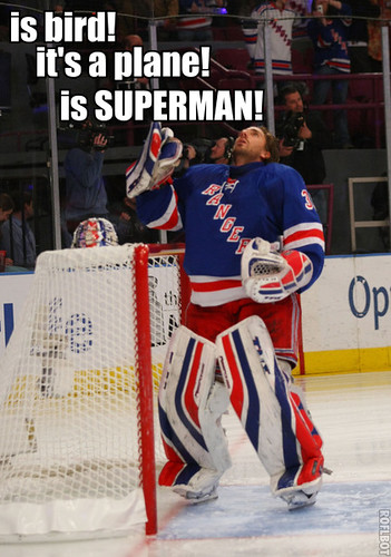 Henrik Lundqvist sees something in the sky