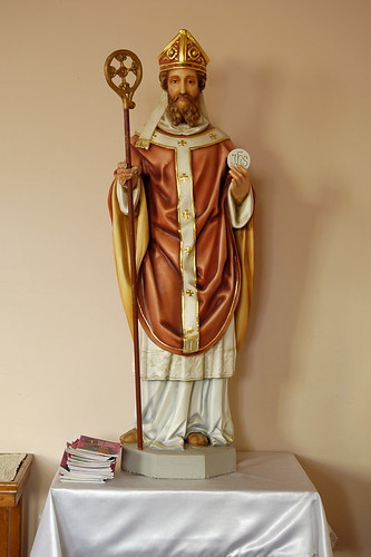Saint Norbert Roman Catholic Church, in Hardin, Illinois, USA - statue of Saint Norbert