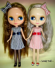 We are Sister !!!!! (Lovedoll2) Tags: outfit chat doll hand stripe made willow prints blythe cappucino winsome