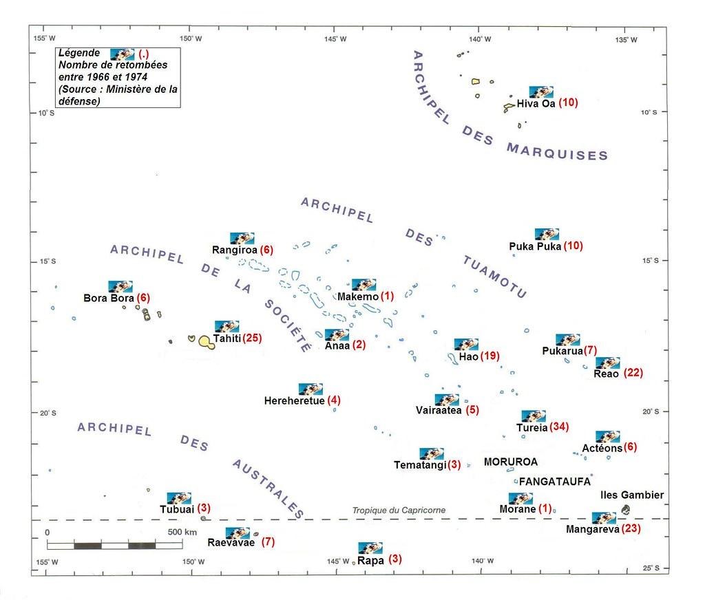 放射性降下物が降った回数(出典:フランス国防省資料)