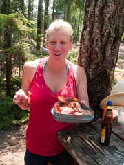 Amy loves the bacon too (1yen) Tags: camping camp washington bacon wa northcascadesnationalpark rosslake rosslakenationalrecreationarea