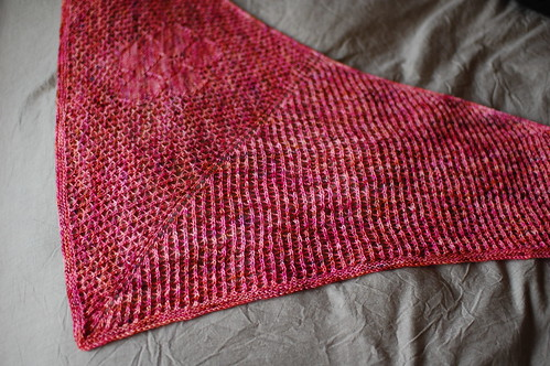 kaua'i shawl, blocked