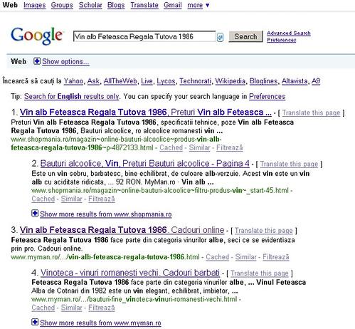 Rezultate cautari google romania la Vin alb Feteasca Regala Tutova 1986