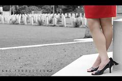 IMG_0711 (Gwyneth Syler) Tags: red bw girl blackwhite heels british warmemorial taiping sexylegs lakegarden warcementry