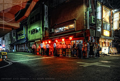 Thursday night at the izakaya; Asakusabashi, Tokyo (Alfie | Japanorama) Tags: street bridge people streets japan bar night lights tokyo student nikon walk crowd wideangle busy nighttime osanpo izakaya hdr afterdark customers asakusabashi d300 bustling tokina1116mmf28 streetphotographyintokyo hdrthatdoesntlookovercoooked ilikehdrbutidontlikeoverdoingit photographylessonsintokyo lpbars