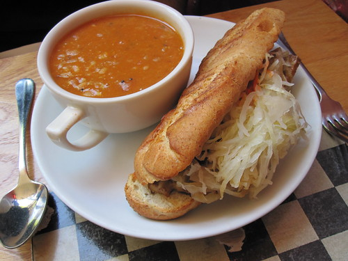 Ruben Sandwich and White Bean Dahl Soup