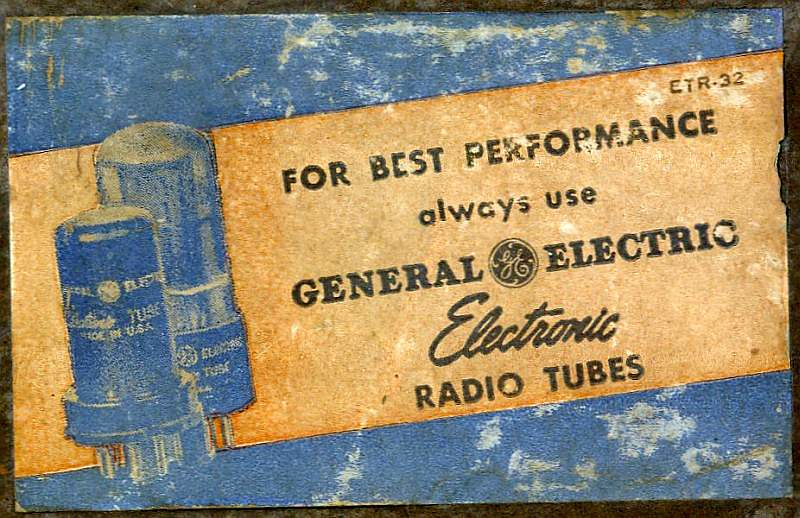 General Electric 115W Tube Radio Label