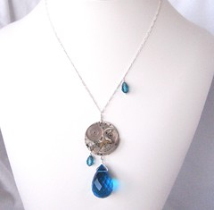 Marisa Necklace (Tissage) Tags: blue silver necklace crystal handmade teal peacock jewelry faceted sterling swarovski teardrop asymmetrical pendant steampunk tissage briolette
