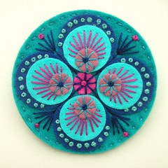 FELT PEACOCK BROOCH - TEAL (APPLIQUE-designedbyjane) Tags: pin embroidery brooch silk peacock felt cotton badge freeform