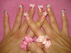 My new nails~ bows and rose (Pinky Anela) Tags: pink white rose japan japanese nail rhinestone bows nailart japanesenails