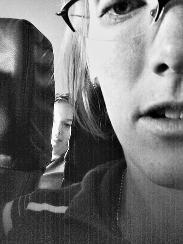 nichole and i on the plane (w/ cell phone cam)