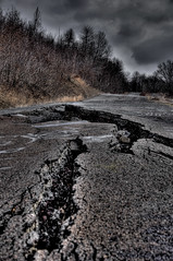 HDR: Destroyed Road (jeremy_jackson) Tags: road street autumn winter cloud storm cold fall abandoned overgrown clouds photoshop dark fire town cool earthquake mine adobephotoshop cloudy ominous destruction empty ghost apocalypse stormy eerie mining creepy foundation crack spooky adobe forgotten disaster fault quake centralia ghosttown tremors cracks barren destroyed hdr highdynamicrange cracked rapture darkclouds stormclouds catastrophe tremor razed photomatix photomatixpro tremblor adobephotoshopcs4 photoshopcs4