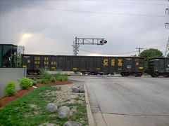 A CSX Transportation Company gondola car in transit. Bridgeview Illinois. August 2007.