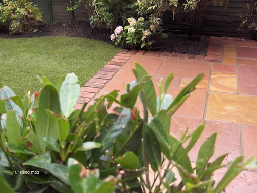 Indian Sandstone Patio and Lawn Image 2