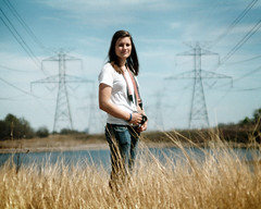 (The Vision Beautiful) Tags: camera portrait lake girl grass lines pond photographer power tall canonae1 kristinmanson
