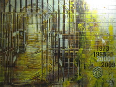 C215 - Justice (C215) Tags: show from street uk portrait streetart art station yellow work bristol french death graffiti justice stencil bars do cross cell police denver christian prison installation jail judge convict sentence steal pochoir bridewell masacara szablon c215 schablon gumy piantillas guemy