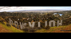 panoramic view of hollywood behind the world famous iconic sign (Kris Kros) Tags: california ca sign photoshop photography la losangeles los high nikon downtown view dynamic angeles landmark icon images panoramic hollywood kris multiple range hdr kkg stiched d300 cs4 photomatix kros kriskros 1xp kkgallery