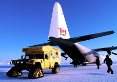 The Moon-1 Humvee Rover and First Air C-130 in Kugluktuk